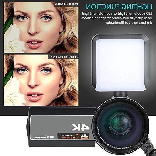 ACTITOP Video Camera 48MP Wi-Fi IR Vision IPS and Travel Bag, Black