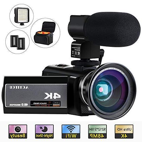 "ACTITOP Video Camera 48MP Wi-Fi Digital IR 3"" IPS and Travel Black"