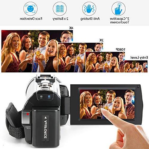 ACTITOP Camcorder, Video Wi-Fi Digital IR Night Vision IPS Travel Black