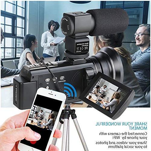 ACTITOP Camcorder, Video Camera Wi-Fi IR Night IPS and Black