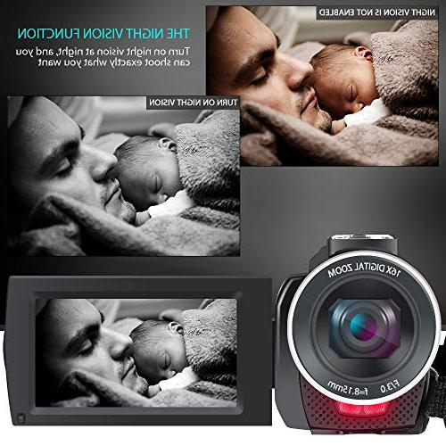ACTITOP Camcorder, Video UHD Wi-Fi 16X Zoom IR Vision IPS Black
