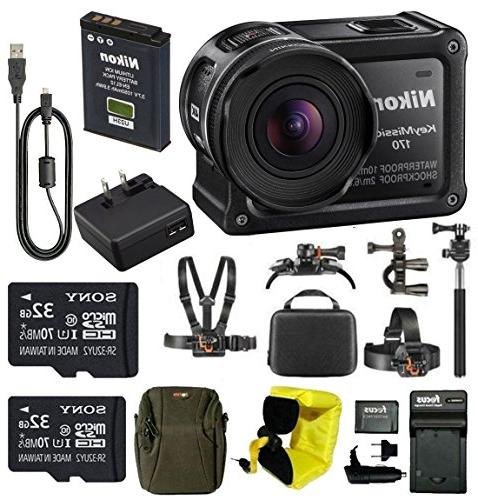 Nikon Keymission 170 Wi-Fi 4K Action Camera with 64GB card a