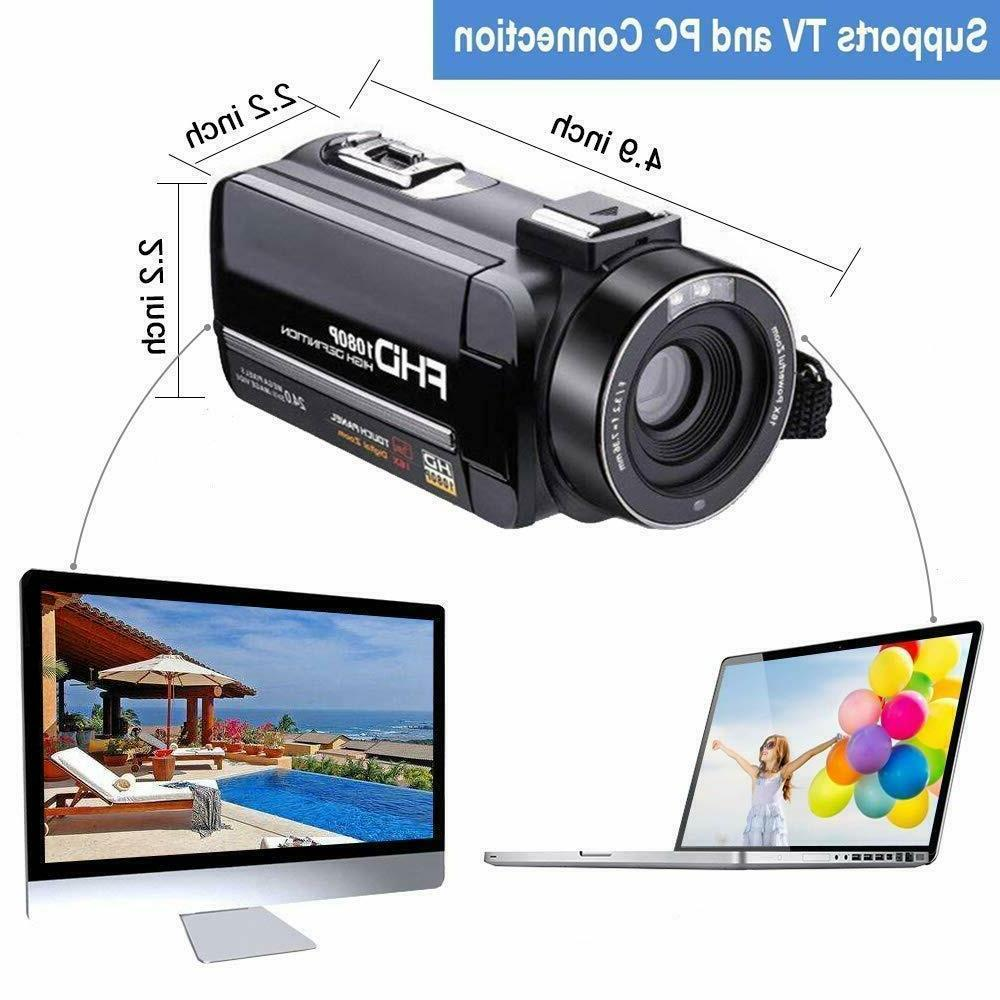 SUNLEA Video Camera Camera with MicrophoneFull 1080p 30fps