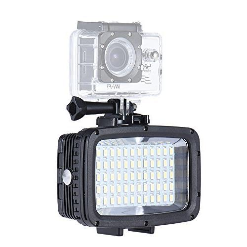 Andoer led Video ,Waterproof Rechargeable 12W LEDs 1800LM Ultra Bright for SJCAM Action for Canon Nikon Sony DSLR
