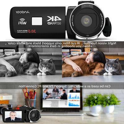 "US Andoer 3.0""LCD WiFi Digital Video Camera 16X Zoom IR+Mic+0.39X"