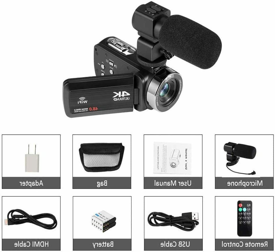 Video Camera Ultra HD Vlogging Camera for YouTube,48MP 16X Digital