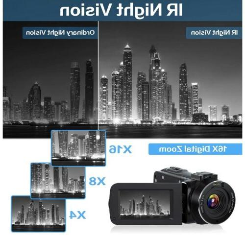 Video Camcorder, Ultra HD YouTube Camera, 36MP Vis