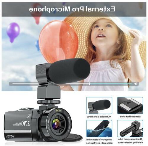 Video Camera Camcorder, 2.7K Ultra YouTube Camera, 36MP Vis