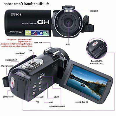 Video Camcorder 1080P 24.0MP LCD Degrees Screen