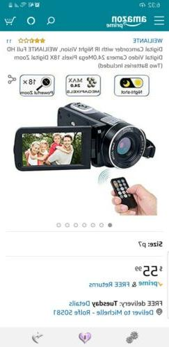 Video Camera Camcorder W IR Night Vision WEILIANTE Full HD D