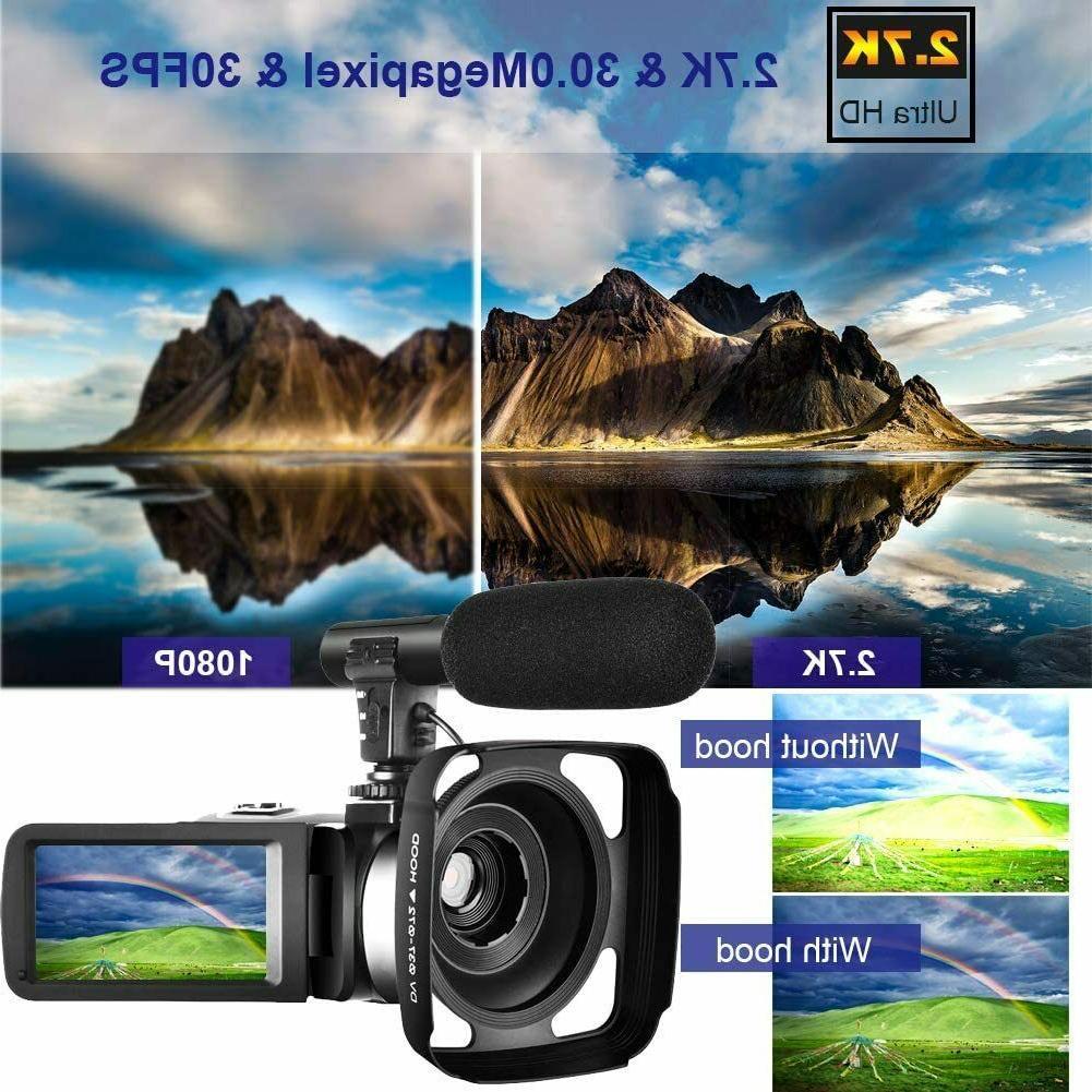 Video Camera Camcorder w/ Microphone Camera Recorder 2.7K Ultra