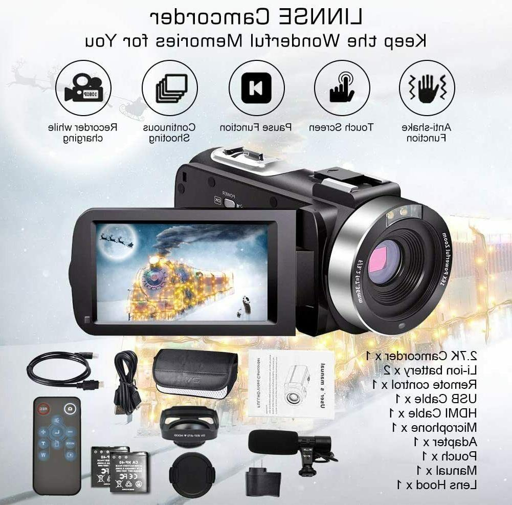 Video Camcorder w/ Microphone YouTube Camera Recorder 2.7K HD