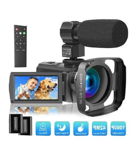 video camera camcorder with microphone and remote