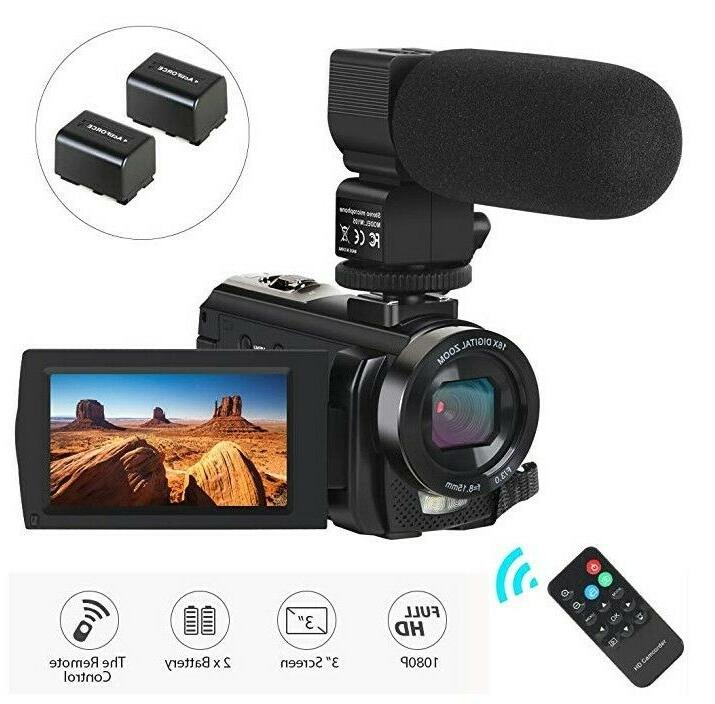 video camera with microphone hd 1080p 24mp