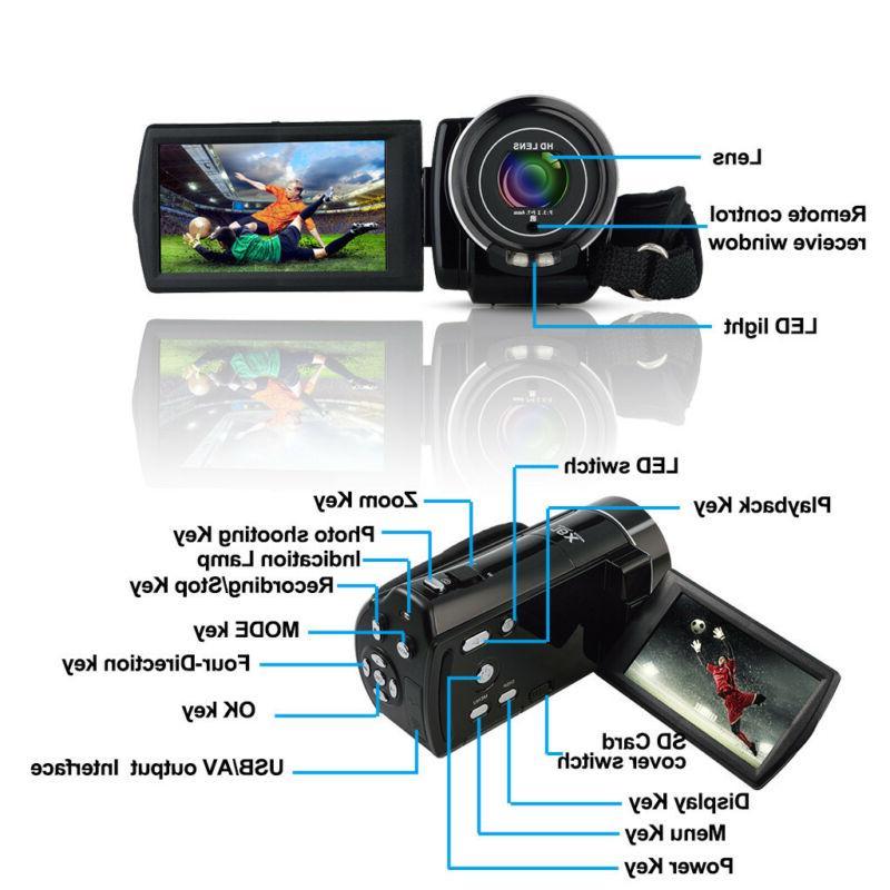 Vlogging Video Camera Camcorder 1080PHD Digital Night For Selfie