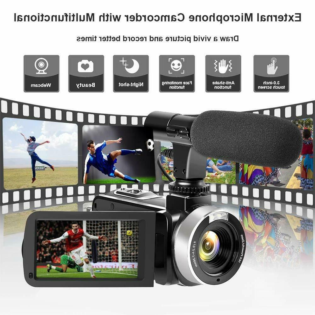 LESHP FULL IPS 1080P Video DV Camcorder & Microphone