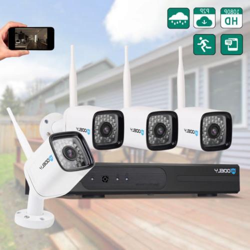 Wireless 4CH 1080P NVR WIFI HD Outdoor IR-CUT Cameras Securi