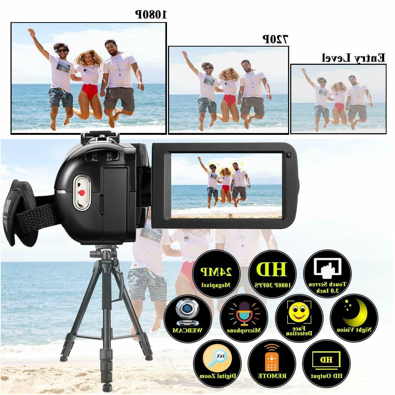 YouTube Vlogging Camcorder 1080P 24MP IR Night 32GB