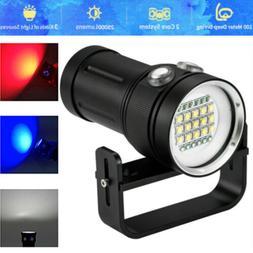 LED Diving Flashlight Video Camera Photography Torch Light