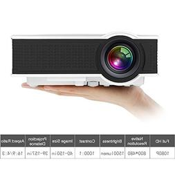 1500 Lumens Mini HD Video Projector 1080p, WEILIANTE Portabl