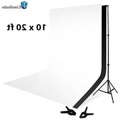 LimoStudio 10 x 20 Foot Muslin Backdrop Background White Bla