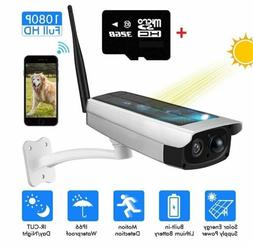 Outdoor Solar Powered Wireless WIFI Security Camera 1080P HD