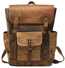 Vintage Canvas Waxed Leather Backpack w/Laptop Storage  High