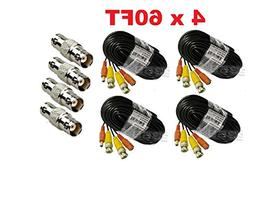 Premium Quality 4x60Ft Video and Power Cable for Zmodo CCTV