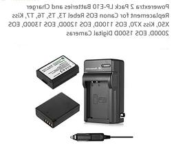 Powerextra 2 Pack Replacement Canon LP-E10 7.4V 1600mAh Li-i
