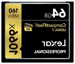 Lexar Pro 64GB Compact Flash 160MB/s CF Memory Card 1066x UD