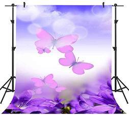 FHZON 5x7ft Purple Flower Butterfly Backdrop Photography Blu