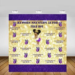 Mehofoto Royal Purple Baby Shower Backdrop Glitter Bubble Go