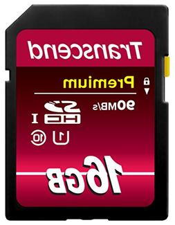 Transcend 16GB SDHC Class 10 UHS-1 Flash Memory Card Up to 4