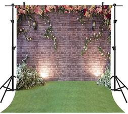 OUYIDA 10X10FT Seamless Brick Wall Flower Pictorial Cloth Ph