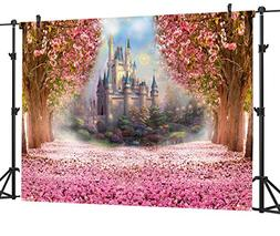 OUYIDA 9X6Ft Seamless Castle In Cherry Blossom CP Pictorial
