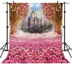 OUYIDA 10X10Ft Seamless Castle In Cherry Blossom CP Pictoria