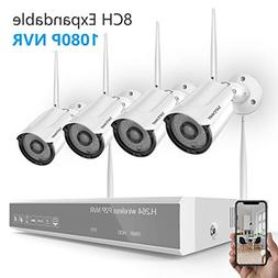 Security Camera System Wireless,Safevant 8CH 1080P NVR Wire