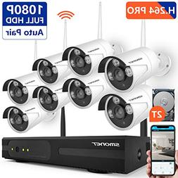 Security Camera System Wireless,SMONET 8CH 1080P H.265 Wirel