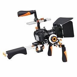 Video Camera Shoulder Rig Support with Matte Box Follow Focu