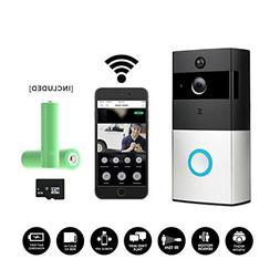 Smart Wireless WiFi Video Doorbell,HD 720P Camera Battery Po