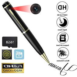 YASSUN Spy Pen Camera,16GB 1080P Full HD Mini Hidden Cam wit