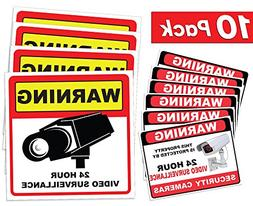Video Surveillance Sticker Sign Decal - 10 Pack - Home Busin