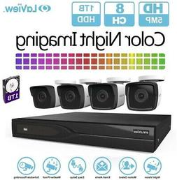 Surveillance System DVR 8-Channel 5 MP Extreme HD 1TB HDD wi