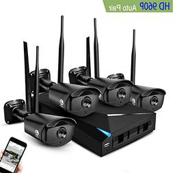 JOOAN Security Camera System, 4×960P Wireless IP Home Surve