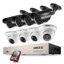 ZOSI 8CH Security Cameras System,8 Channel 1080P 4-in-1 CCTV