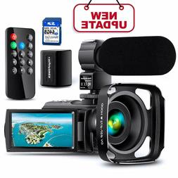 Ultra HD Video Camera Camcorder with Rechargeable Microphone
