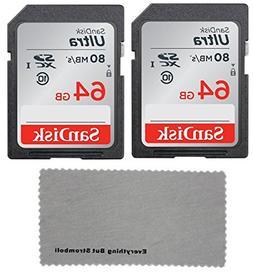 SanDisk 64GB Ultra UHS-I Class 10 2 Pack SDXC SD Flash Memor
