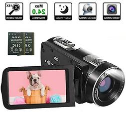 Video Camera Camcorder, 1080p 30FPS Digital YouTube Vlogging