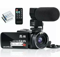 Video Camera Camcorder WiFi Night Vision FHD 1080P 30FPS 26M
