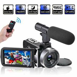 Video Camera Camcorder with Microphone 2.7K 30FPS 30MP Vlogg